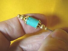 (U-310) Turquoise gemstone beaded + gold tone hatpin Pin hat pins JEWELRY hats