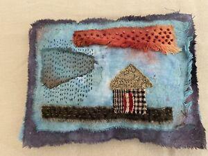 Handstitched Original Prim Folk Art Fabric Pillow Cupboard Tuck One Of A Kind