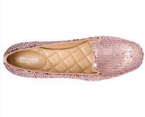 NIB Size 6.5 Michael Kors Alyssa Soft Pink Rose Gold Slip On Loafer $135 Retail