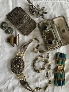 Lovely Collection of Art Deco CZECH Jewellery For Spares/Repair