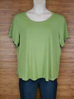 Eileen Fisher Green Short Sleeve Stretch Shirt Womens Size 2X EUC