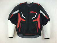 NEW ICON COMPOUND LEATHER TEXTILE MOTORCYCLE JACKET BLACK RED WHITE L LG LARGE