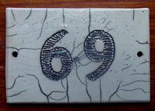 Plaque adresse  maison numero 69 numero de rue number house ceramique raku