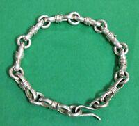 """Vintage Curb Knot Link Sterling Silver 925  Unisex Bracelet 8"""" 28.5 Grams"""