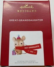 Hallmark 2021 Great Granddaughter Mouse Christmas Ornament New with Box