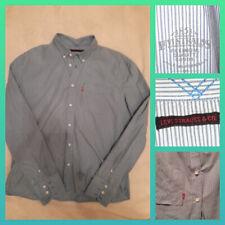 LEVI STRAUSS & CO Levis Mens Shirt Blue White Striped 100% Cotton Slim Fit Sz XL