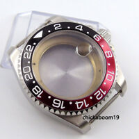 43MM Stainless Steel Watch Case Black Red Bezel Fit For ETA 2836 8215 Movement