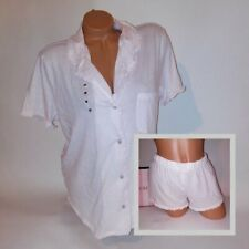Victoria Secret Sleep Pajama Set Medium Button Down Top & Shorts Pink Ruffle