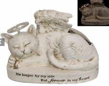 Pet Sleeping Cat Memorial Angel Wings Solar Halo in Memory Garden Grave Statue