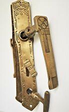 antike Jugendstil Drückergarnitur Messing Türbeschlag mit Riegel