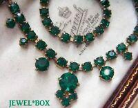 VINTAGE Geometric Emerald Crystal Rhinestone Art Deco RIVIERE NECKLACE