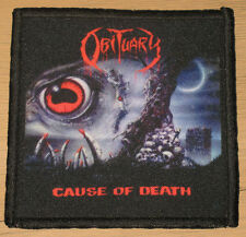 """OBITUARY """"CAUSE OF DEATH"""" silk screen PATCH"""