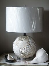 Soft White Shells Table Lamp Base Light With Complementary Shade H 55 cm