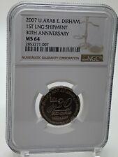 UAE United Arab Emirates 2007 NGC MS 64 Dirham 1st Lng Shipment Gas ADGAS