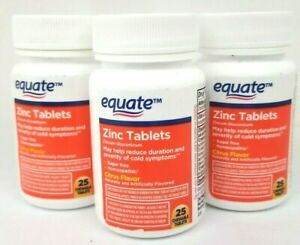 Equate Homeopathic Zinc Tablets Cold Therapy Citrus 25 Count (3 Pack)01/22