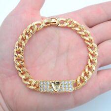 18K Yellow Gold Filled Women Clear Mystic Topaz Stylish Love Heart Link Bracelet