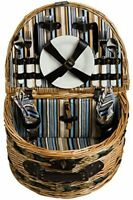Arched Woven Willow Picnic Basket with Service for Two