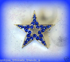 BLUE RHINESTONE STAR CHRISTMAS HANUKKAH PATRIOTIC SILVER GOLD GP GIFT PIN BROOCH