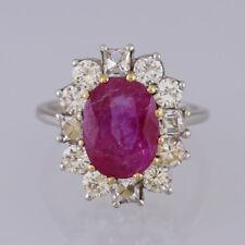 Vintage Platinum Burmese Ruby and Diamond Cluster Ring 1950s
