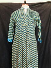 Vtg Ethnic CAFTAN Blue SEQUIN Embroidered Maxi Dress Striped Bollywood Small