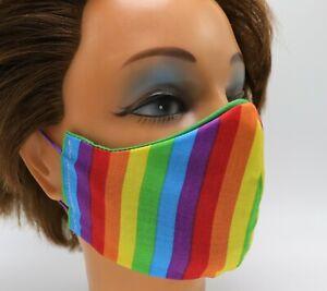 Rainbow Washable Cloth Face Mask, Reusable Cotton Facial Cover  LGBT