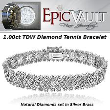 EPIC VAULT-1 CT. TDW-Natural Diamond-Chevron-Bracelet-in-Silver Tone Brass