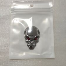 2x 3D Silver devil skull head sticker for car Body Fuel tank cap rearview mirror