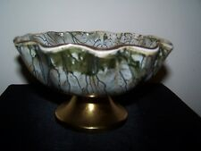 Delftware Hand Painted Open Compote Scalloped Candy Dish Aqua Green Brass Base
