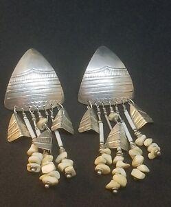 Vintage Tabra Sterling Silver, Dangle, Large Pierced Earrings AS IS