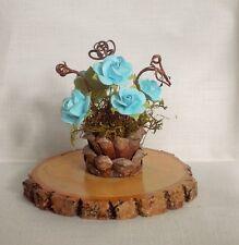 Fairy Garden Miniature TURQUOISE ROSES Moss/Pinecone Flower POT & Walnut STUMP