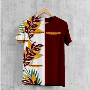 Washington Football Team Men's Hawaiian T-Shirts Short Sleeve Crew Neck Tee Top