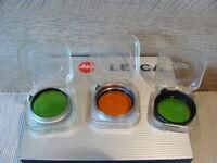 """Leitz Wetzlar - Set (3) Farbfilter Aufsteck/Klemmfilter E36 """"boxed"""" - RAR!"""