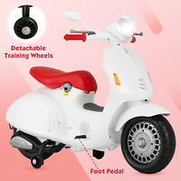 12V Kids Electric Ride On Toy Battery Power Foot Pedal Motorcycle 4 Wheels White