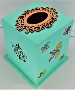 Cube Birdhouse Aqua Blue w/Fleur-Dis-Lis&Butterflies~Home/Yard Decor~US Vet Made