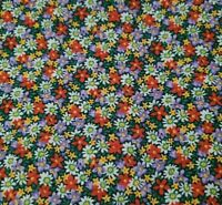 Country Florals BTY Unbranded Calico Flowers Red Purple Yellow Green Navy Blue
