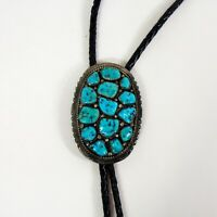 Vintage Navajo Sterling Silver & Turquoise Bolo Tie - Signed WNEZ, 18 Stones