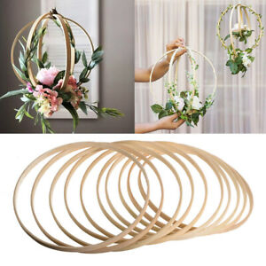 10PCS Dream Catcher Ring Round Wooden Bamboo Hoop DIY Crafts Tool Home Decor