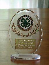 """4-H Club/County Fair 6 1/2"""" Acrylic Award Trophy FREE engraving"""