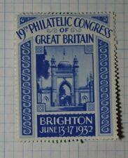 Philatelic Congress of Great Britain Brighton 1932 Philatelic Souveir Ad Label