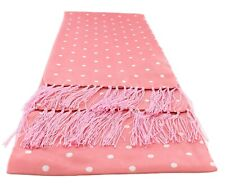 Pink Narrow Polka Dot Silk Scarf