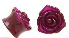 "PAIR-Rose Purple Acrylic Double Flare Plugs 12mm/1/2"" Gauge Body Jewelry"