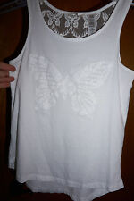 Guess kids girl L 14 white shirt butterfly lace back