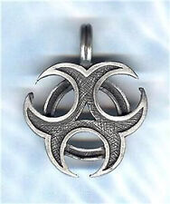 "BIOHAZARD PEWTER PENDANT STAINLESS STEEL BALL CHAIN NECKLACE-30"" 2.4mm UNISEX"