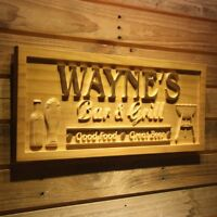 wpa0241 Name Personalized BAR & GRILL Good Food Great Beer Wooden Sign