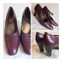 Clarks cushion soft burgundy leather mid heel shoes uk 5 vintage