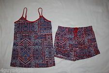 Womens Knit SHORTS & CAMI TANK SET Maroon Navy White GEOMETRIC Abstract L 12-14