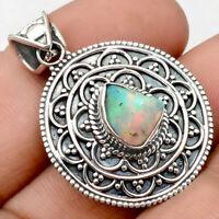 Filigree - Ethiopian Opal Rough 925 Sterling Silver Pendant Jewelry AP58090
