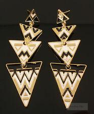 Gold White Black Tribal Geometric Costume Jewellery Dangle Earrings