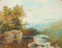 J.A - Late 19th Century Oil, River Landscape, Moorland
