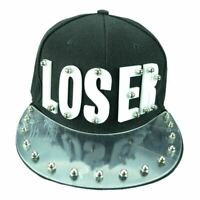 punk Spike Studded LOSER  Military Hat Black Fabric Silver Studs Size adjustable